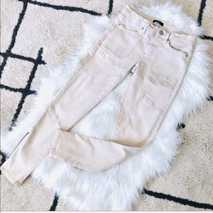 BDG beige skinny high rise zipper hem pants 26